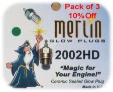Pack of 3 Merlin 2002 HD Glowplugs
