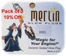 Pack of 3 Merlin 2003 Glowplugs
