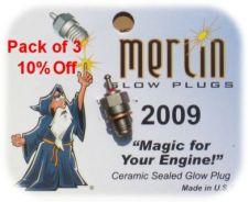 Pack of 3 Merlin 2009 Glowplugs